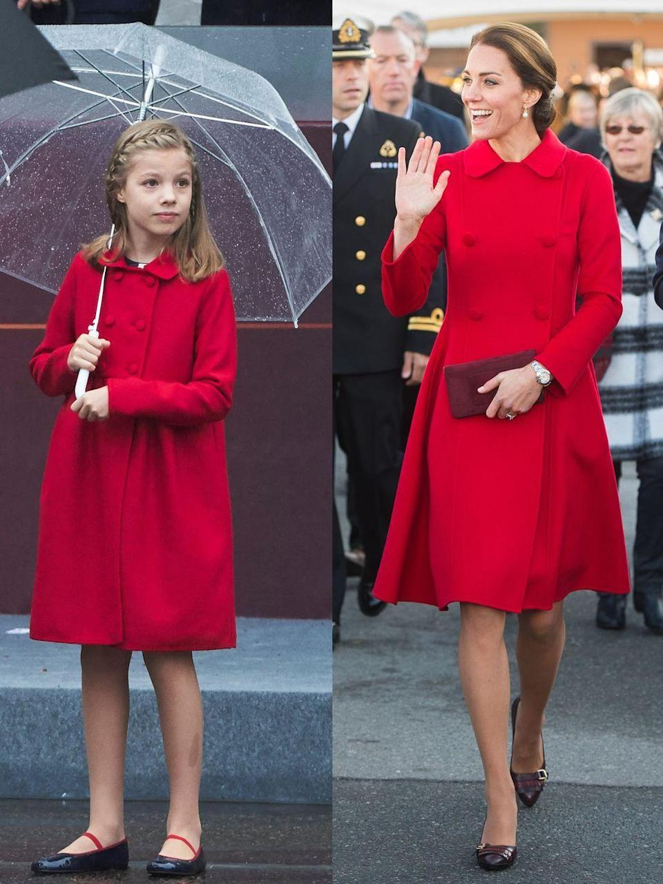 """<p><strong>Left: </strong>Princess Sofia attended Spain's National Day military parade on October 12, 2016 wearing a pint-sized red Carolina Herrera coat.</p><p><strong>Right: </strong>Just one month earlier, Catherine, Duchess of Cambridge was spotted wearing the adult version while on a <a href=""""https://www.townandcountrymag.com/style/fashion-trends/g2877/kate-middleton-royal-canada-tour-outfits/"""" rel=""""nofollow noopener"""" target=""""_blank"""" data-ylk=""""slk:royal tour of Canada"""" class=""""link rapid-noclick-resp"""">royal tour of Canada</a>.<br></p>"""
