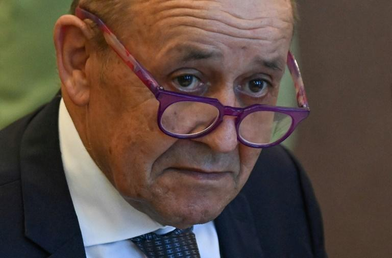 French Foreign Minister Jean-Yves Le Drian, seen in September 2021 in Hungary, has no immediate plans to meet US Secretary of State Antony Blinken due to a dispute over Australia's scrapping of a French submarine contract (AFP/Attila KISBENEDEK)