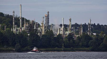 The Chevron oil refinery is pictured on the shores of the Burrard Inlet in Burnaby