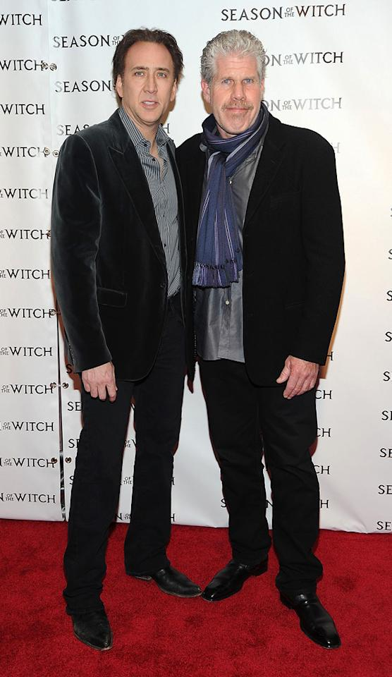 "<a href=""http://movies.yahoo.com/movie/contributor/1800018581"">Nicolas Cage</a> and <a href=""http://movies.yahoo.com/movie/contributor/1800019724"">Ron Perlman</a> at the New York City premiere of <a href=""http://movies.yahoo.com/movie/1810055815/info"">Season of the Witch</a> on January 4, 2010."