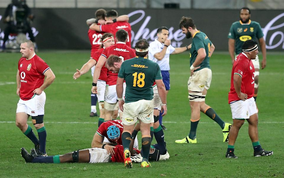 The scene at the final whistle after the Lions claimed victory - REUTERS