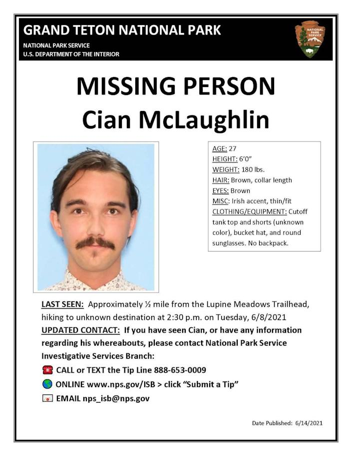 Grand Teton National Park officials launched a missing person search for a hiker who was last seen June 8.