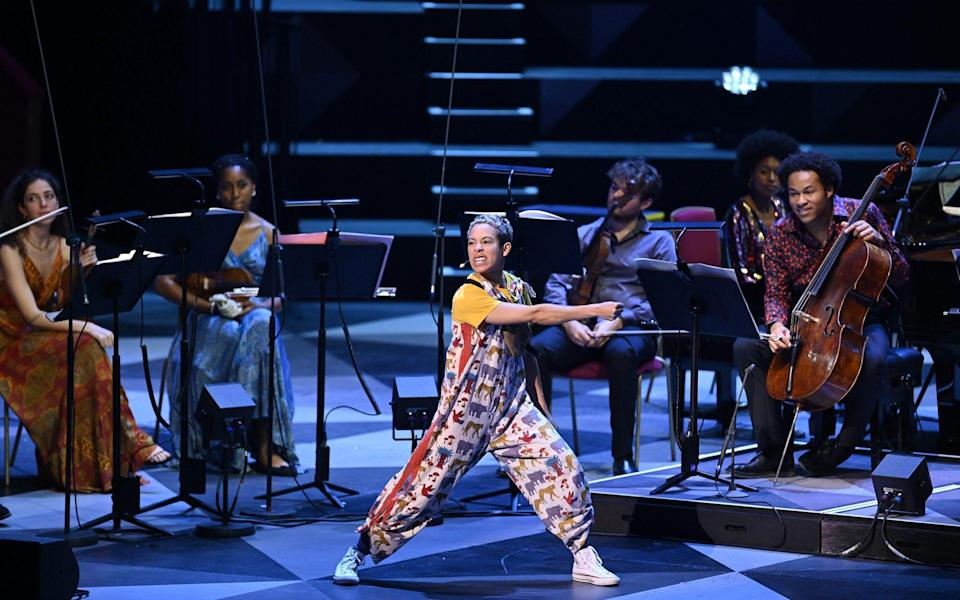 EM Williams (centre) with cellist Sheku Kenneh-Mason (right) in the Carnival of the Animals Prom - BBC/Chris Christodoulou