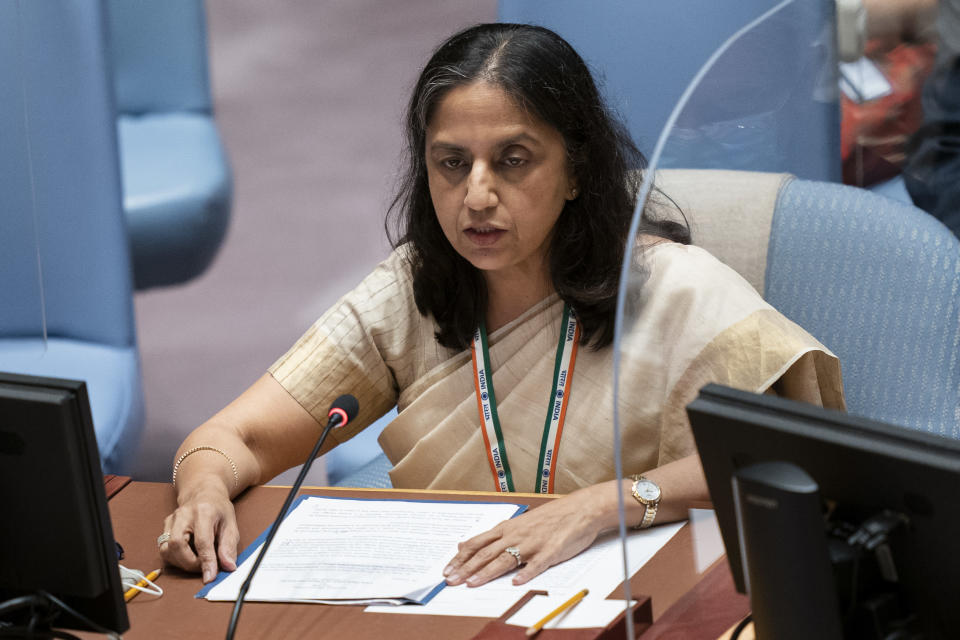 Reenat Sandhu, secretary west of India, speaks during a meeting of the United Nations Security Council, Thursday, Sept. 23, 2021, during the 76th Session of the U.N. General Assembly in New York. (AP Photo/John Minchillo, Pool)