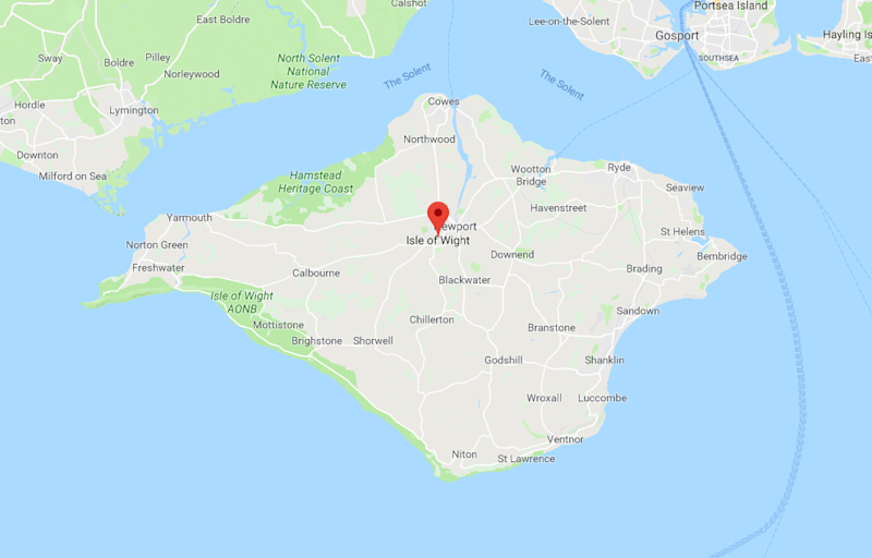 The destination for the hitch race: the Isle of Wight (Google Maps)