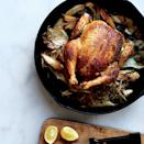 "A beautifully browned bird and seasonal vegetables cook in a single skillet for an effortless dinner. Swap in carrots, quartered onions, or tiny potatoes—anything goes. <a href=""https://www.epicurious.com/recipes/food/views/skillet-roast-chicken-with-fennel-parsnips-and-scallions-51259610?mbid=synd_yahoo_rss"" rel=""nofollow noopener"" target=""_blank"" data-ylk=""slk:See recipe."" class=""link rapid-noclick-resp"">See recipe.</a>"