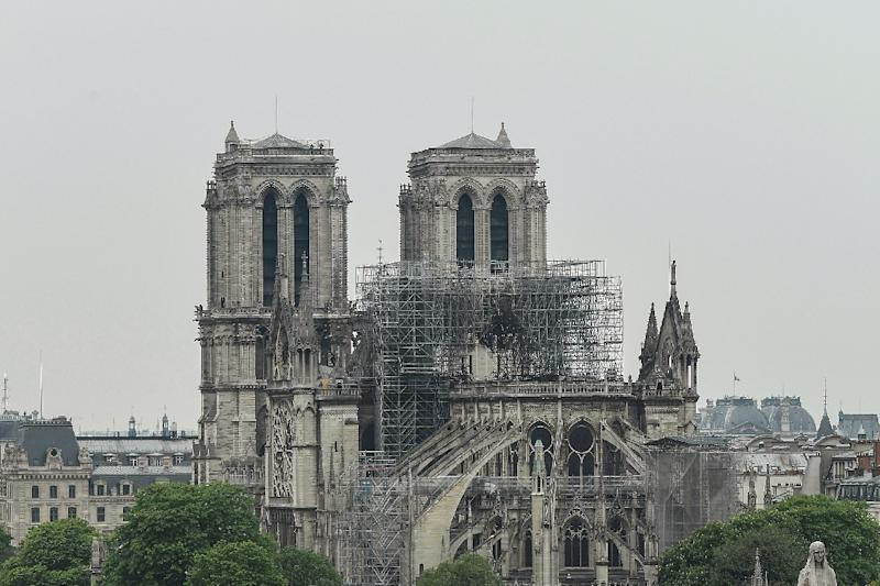 A picture taken on April 16, 2019 shows Notre-Dame-de-Paris in the aftermath of a fire that devastated the cathedral (AFP Photo/BERTRAND GUAY)