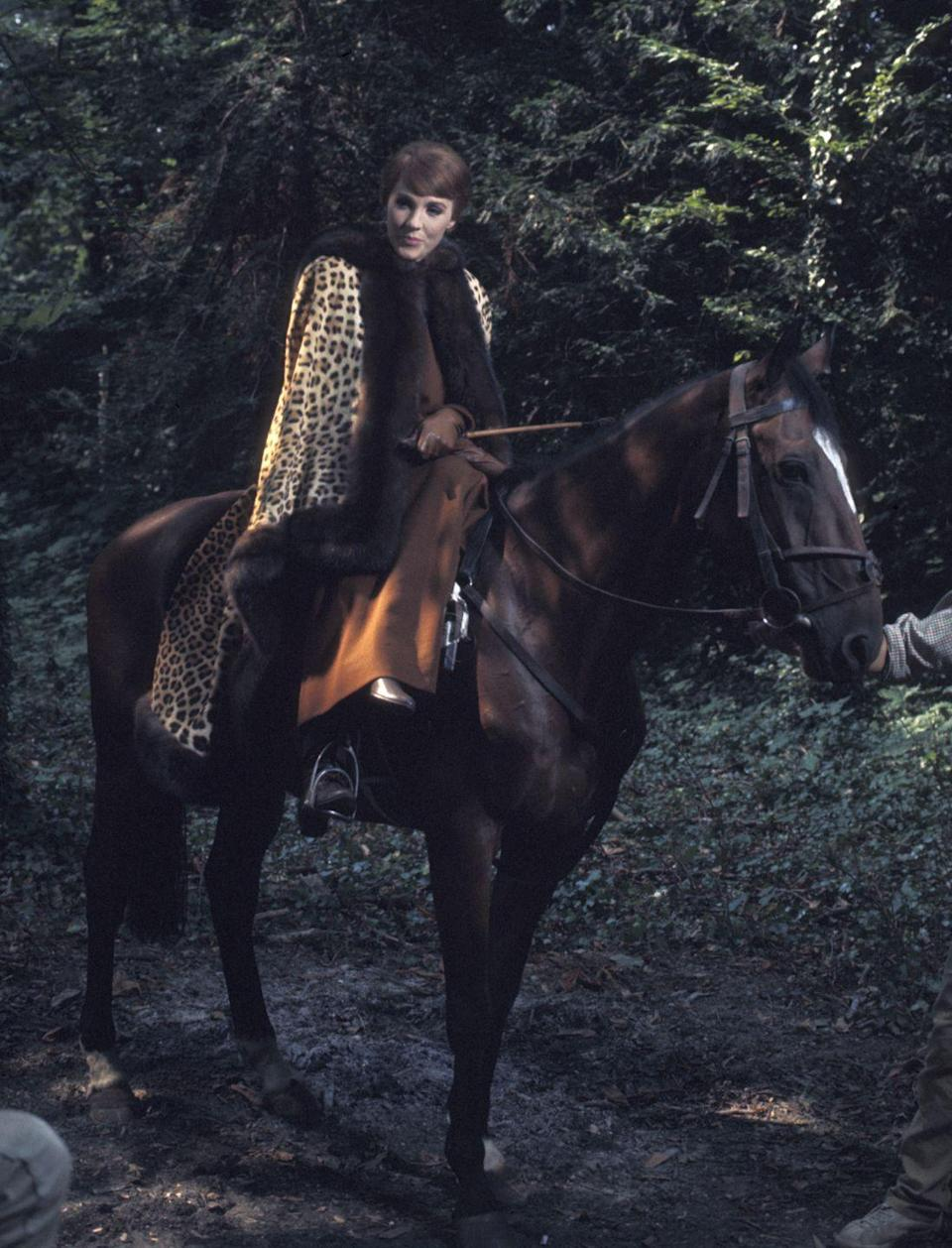 <p>The actress looks as graceful as can be while riding horseback for the film <em>Darling Lili</em>. </p>