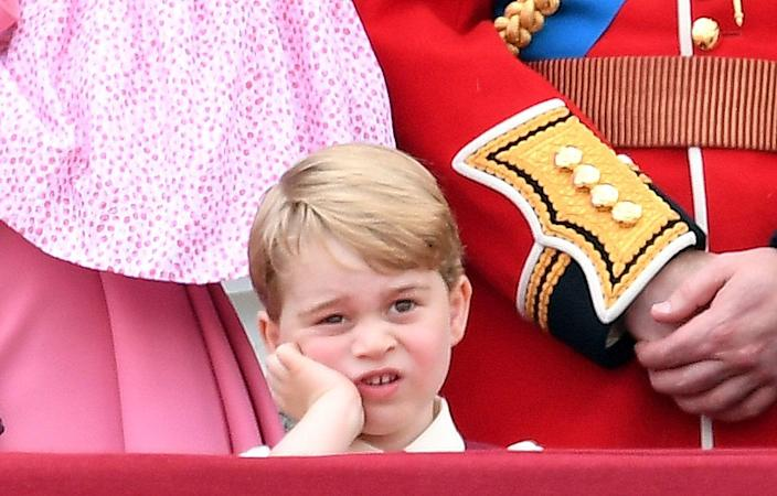 """<p>The face that <a href=""""https://www.townandcountrymag.com/society/tradition/g10041966/10-times-prince-george-looked-completely-bored/"""" rel=""""nofollow noopener"""" target=""""_blank"""" data-ylk=""""slk:launched a million memes following the annual Trooping the Colour"""" class=""""link rapid-noclick-resp"""">launched a million memes following the annual Trooping the Colour</a>. </p>"""