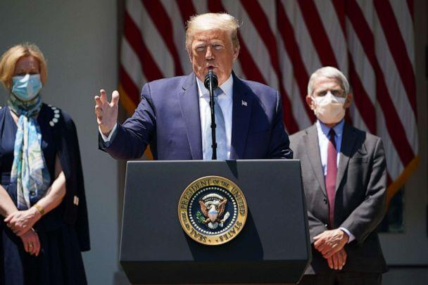 PHOTO: In this file photo taken May 15, 2020, President Donald Trump, with White House coronavirus task force members Dr. Deborah Birx and Dr. Anthony Fauci, speaks on vaccine development at the White House. (Mandel Ngan/AFP via Getty Images, File)