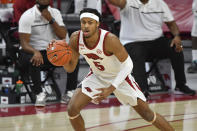 FILE - In this Feb. 16, 2021, file photo, Arkansas guard Moses Moody plays against Florida during an NCAA college basketball game in Fayetteville, Ark. Moody was selected by the Golden State Warriors in the NBA draft Thursday, July 29. (AP Photo/Michael Woods, File)
