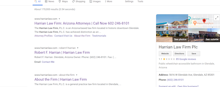 """After a video of Tamara Harrian using racist insults went viral, internet users changed the Google listing for her husband's law firm to a """"Clown Motel"""" and public restroom."""