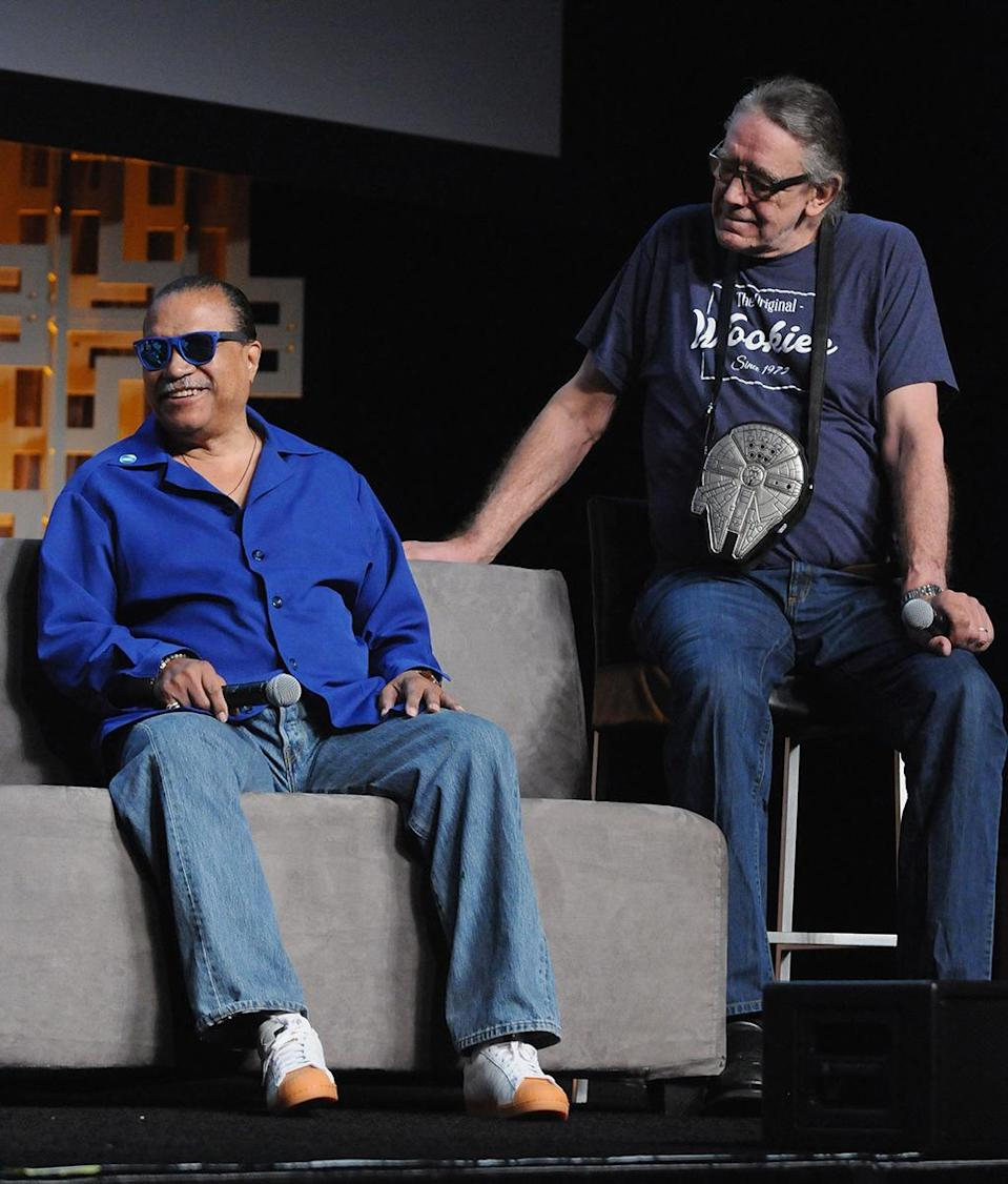 <p>Billy Dee Williams and Peter Mayhew (Photo: Gerardo Mora/Getty Images) </p>