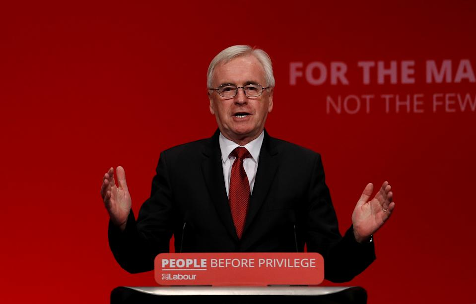 British Labour MP John McDonnell speaks during the Labour party annual conference in Brighton, Britain September 23, 2019.  REUTERS/Peter Nicholls