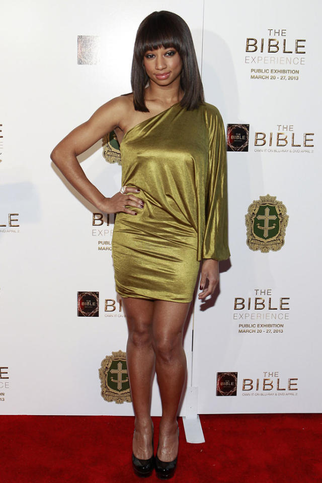 "Monique Coleman arrives at ""The Bible Experience"" opening night gala, a rare exhibit of biblical artifacts, in New York City on Tuesday, March 19 in New York."