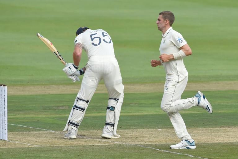 That's out: England's Ben Stokes is dismissed by  Anrich Nortje