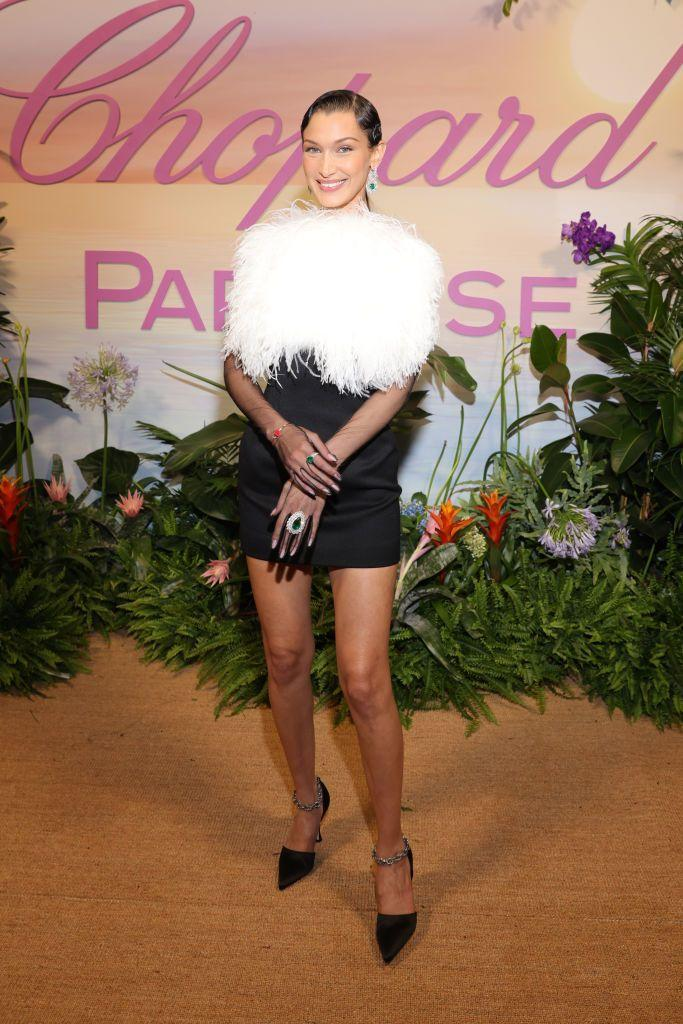 <p>The model paired a Lanvin mini dress with Chopard jewellery for Chopard's dinner. </p>
