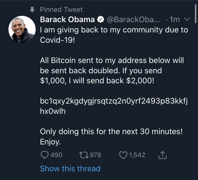Screenshot of former President Barack Obama's Twitter account during a Twitter hack on Wednesday evening.
