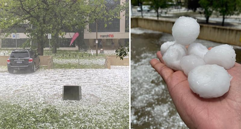 Giant hailstones fell in Canberra on Monday afternoon. Source: Twitter/ KennyLobo