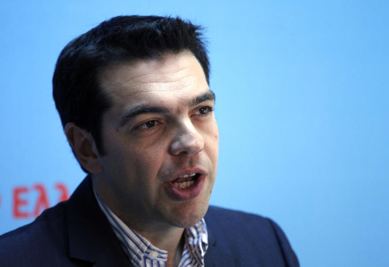 Alexis Tsipras, the leader of Greece's Radical Left Coalition party (SYRIZA) delivers a statement at the party's headquarters in Athens, Monday, May 7, 2012. Left-wing Greek election runner-up Tsipras rejected forming a coalition with the winning conservative party on Monday. (AP Photo/Kostas Tsironis)