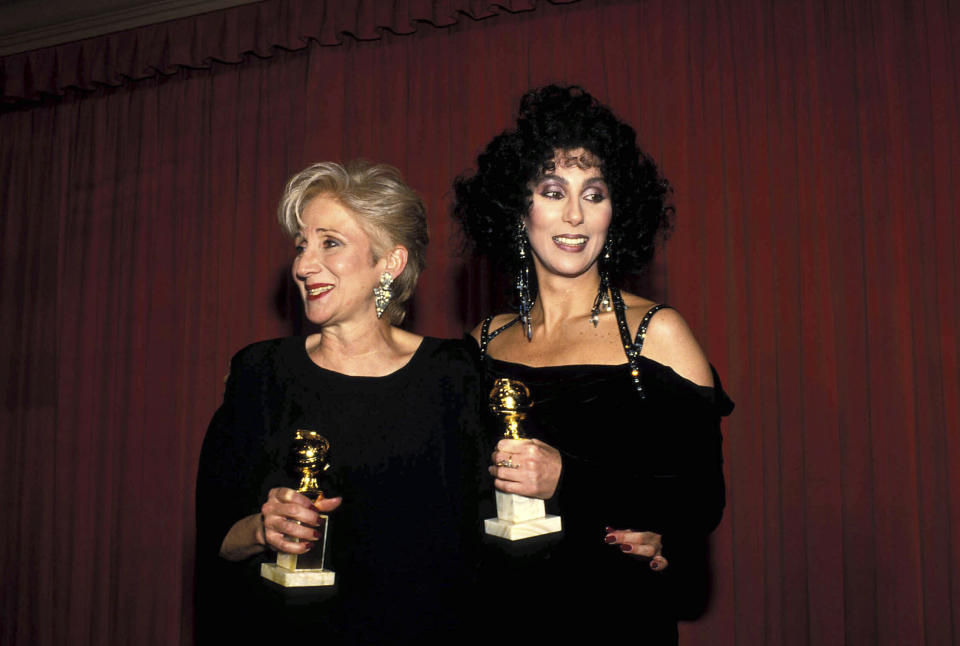 Olympia Dukakis And Cher at the 45th Golden Globe Awards