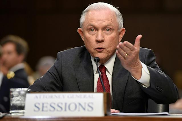 <p>Attorney General Jeff Sessions testifies during a US Senate Select Committee on Intelligence hearing on Capitol Hill in Washington, DC, June 13, 2017.<br> (Photo: Saul Loeb/AFP/Getty Images) </p>
