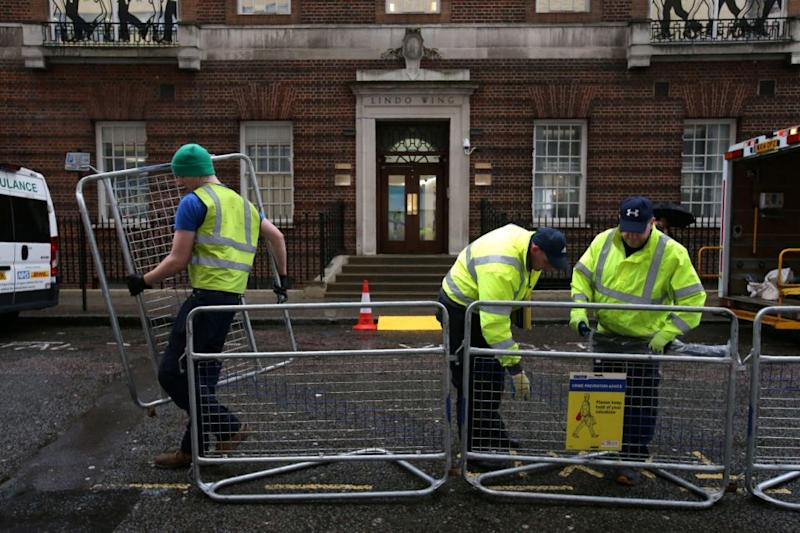 Barricades are being set up outside the Lindo Wing where Kate will give birth. Photo: Getty