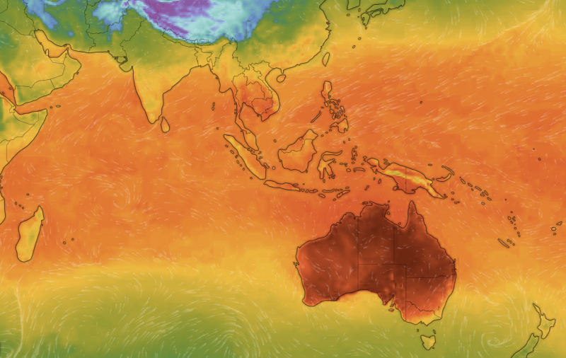 A weather map shows Australia's heat forecast next to New Zealand and parts of Indonesia and southeast Asia.