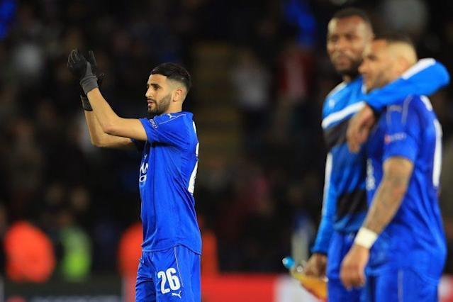 A disappointed Riyad Mahrez applauds the Foxes faithful after valiant effort