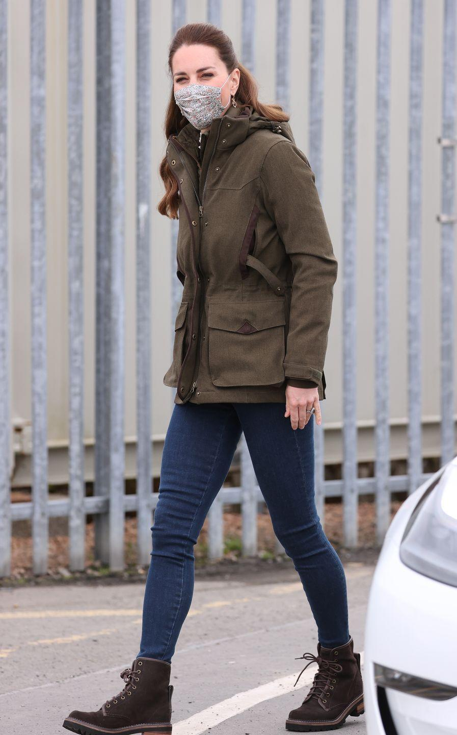 <p>The Duchess of Cambridge switched up her look halfway through her day. She changed from her more formal, camel ensemble (below) into a casual outfit, ready to go boating with the European Marine Energy Centre.</p>