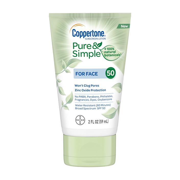 """<p>Got sensitive skin? Coppertone's new Pure & Simple sunscreen (which previously was comprised solely of products for the <em>bébé</em>) was formulated to soothe easily irritated complexions. It's made with calming tea leaf, sea kelp, and lotus extracts, in addition to zinc oxide for mineral protection.</p> <p><strong>$5</strong> (<a href=""""https://shop-links.co/1666237250764765453"""" rel=""""nofollow noopener"""" target=""""_blank"""" data-ylk=""""slk:Shop Now"""" class=""""link rapid-noclick-resp"""">Shop Now</a>)</p>"""