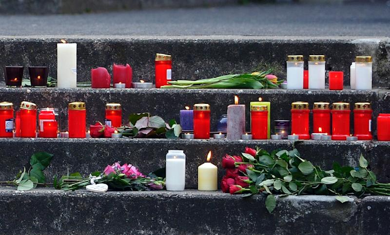Candles and flowers in front of the Joseph Koenig Gymnasium secondary school in Haltern am See, western Germany (AFP Photo/Sascha Schuermann)