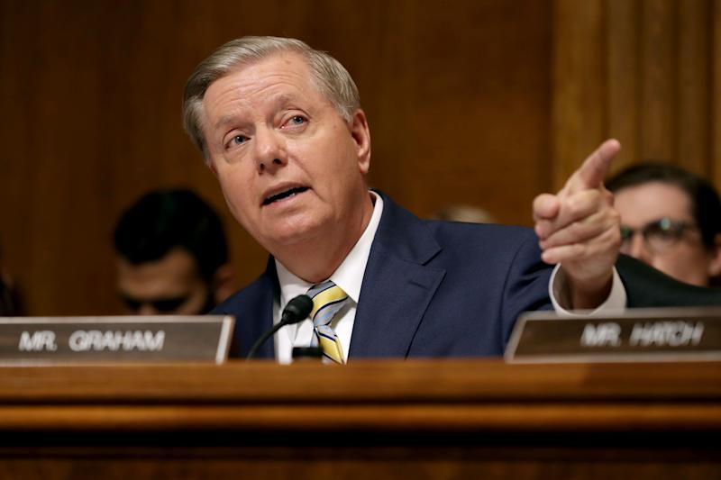 Sen. Lindsey Graham is all-in on the Kavanaugh nomination. (Chip Somodevilla via Getty Images)