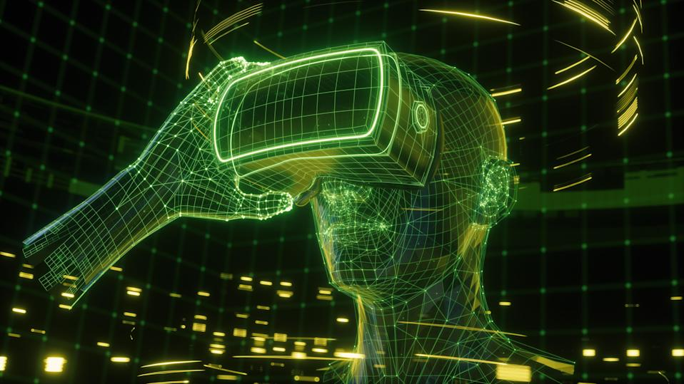 3D render, visualization of a man holding virtual reality glasses, electronic device, head surrounded by virtual data with neon green grid. Player one ready for the VR game. Virtual experience.