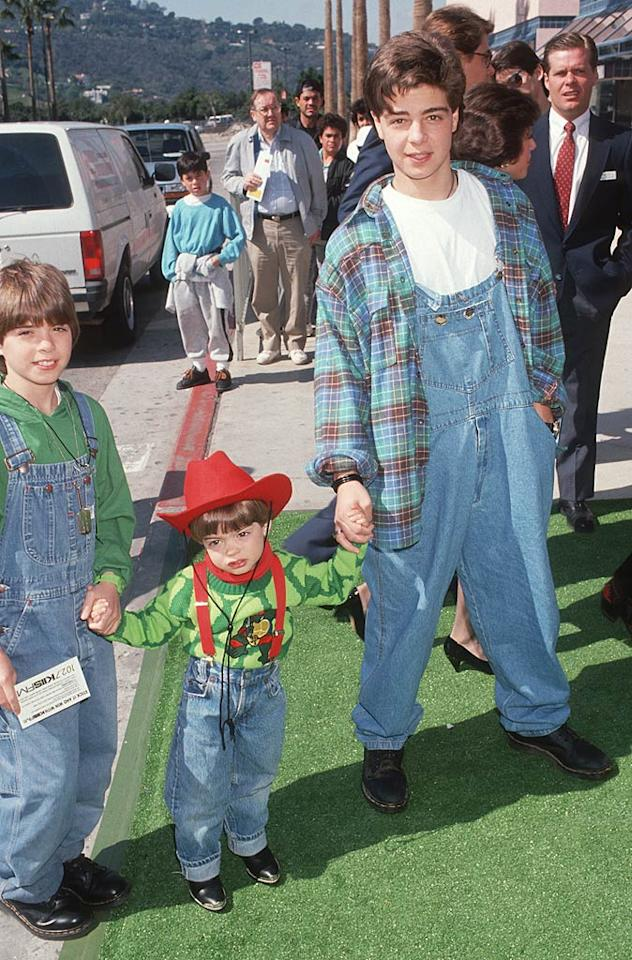 """Former """"Blossom"""" star Joey Lawrence also enjoyed the plaid fad ... as well as the over-sized overalls fad and the black Doc Martens fad. Here's Joey, along with younger brothers Matthew and Andrew, at the 1991 world premiere of """"Teenage Mutant Ninja Turtles II: The Secret of the Ooze"""" in Universal City, California. Ron Galella/<a href=""""http://www.wireimage.com"""" target=""""new"""">WireImage.com</a> - March 17, 1991"""