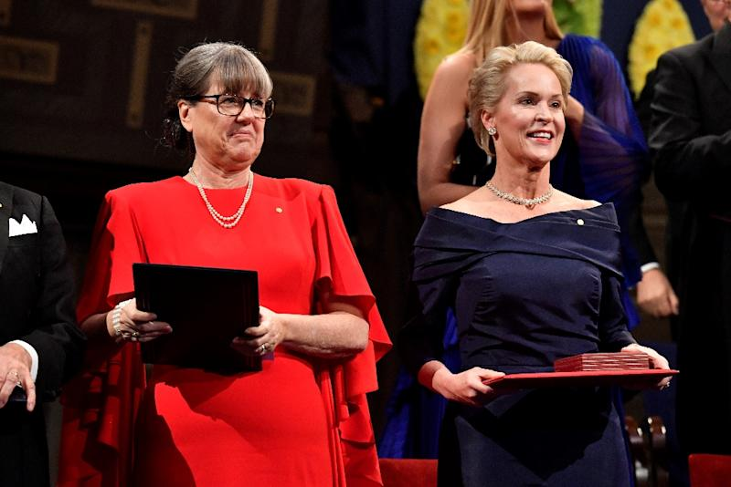 In October, Canadian scientist Donna Strickland (L) became just the third woman in history to win the Nobel Physics Prize. US biochemist Frances Arnold (R) was awarded the chemistry prize, only the fifth woman to receive the honour (AFP Photo/Henrik Montgomery)