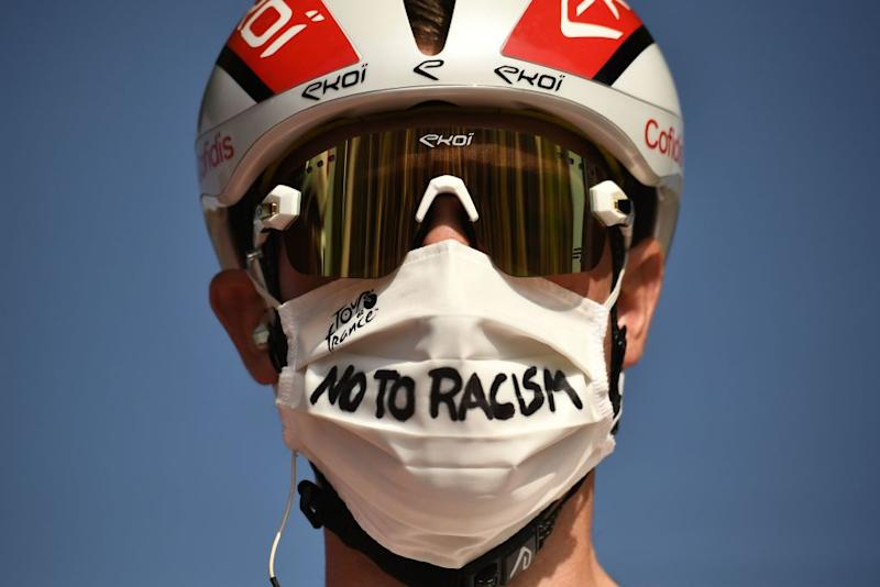 Team Cofidis rider Italys Elia Viviani waits prior to the 21st and last stage of the 107th edition of the Tour de France cycling race 122 km between ManteslaJolie and Champs Elysees Paris on September 20 2020 Photo by Marco Bertorello POOL AFP Photo by MARCO BERTORELLOPOOLAFP via Getty Images