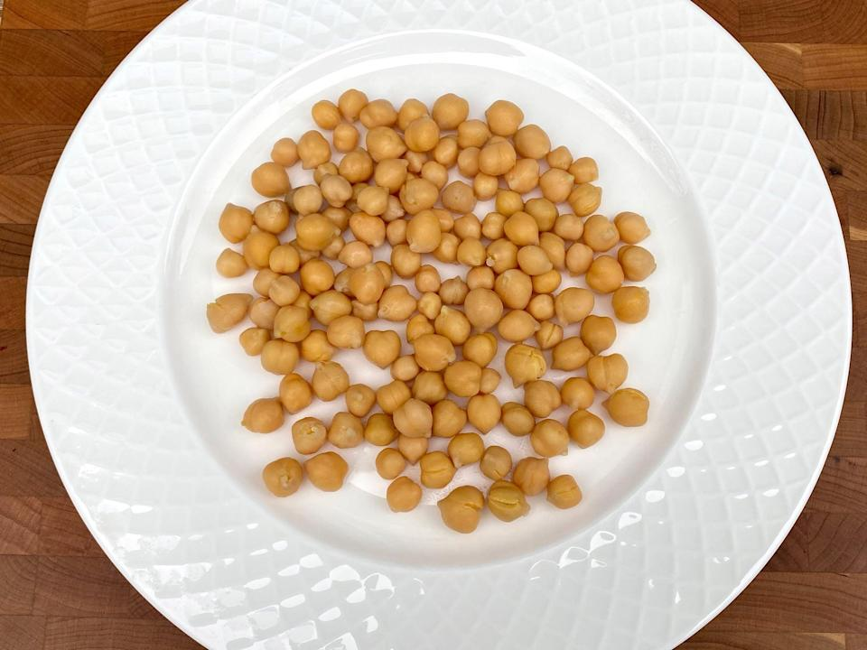 <p>4/5 cup of canned garbanzo beans</p>