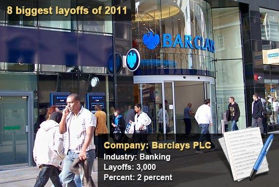 8 biggest layoffs of 2011 - Barclays