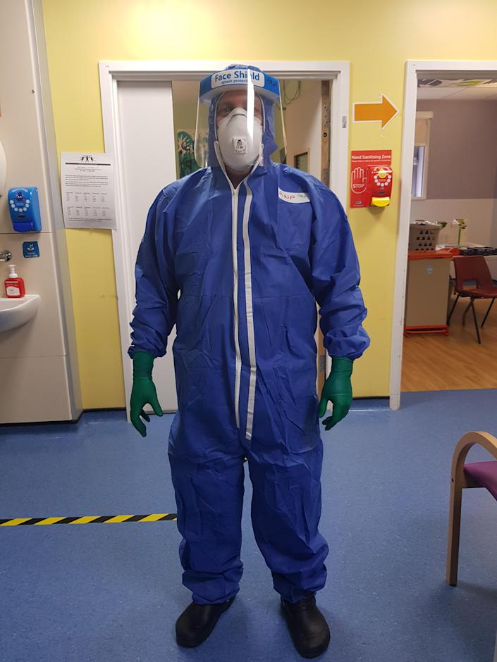 Matt Smith in personal protective equipment (PPE) while at work during the pandemic. He said the NHS pay situation 'just can't go on'. (Matt Smith)