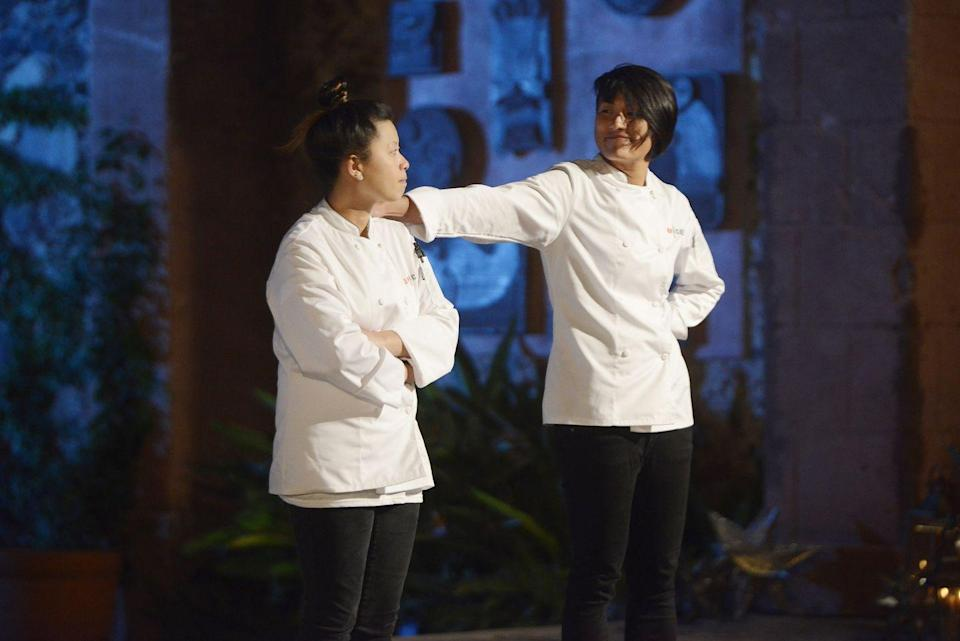 """<p>According to former production worker, Shannon Wilkinson, the contestants on <em>Top Chef</em> are assigned <a href=""""https://www.seattlemet.com/eat-and-drink/2012/07/a-seattle-chef-pulls-back-the-curtain-on-top-chef-july-2012"""" rel=""""nofollow noopener"""" target=""""_blank"""" data-ylk=""""slk:handlers"""" class=""""link rapid-noclick-resp"""">handlers</a>. These employees make sure the chefs show up where and when they're needed.</p>"""