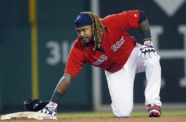 Hanley Ramirez went two-for-three at the plate with on walk on Sunday (AP Photo/Michael Dwyer).