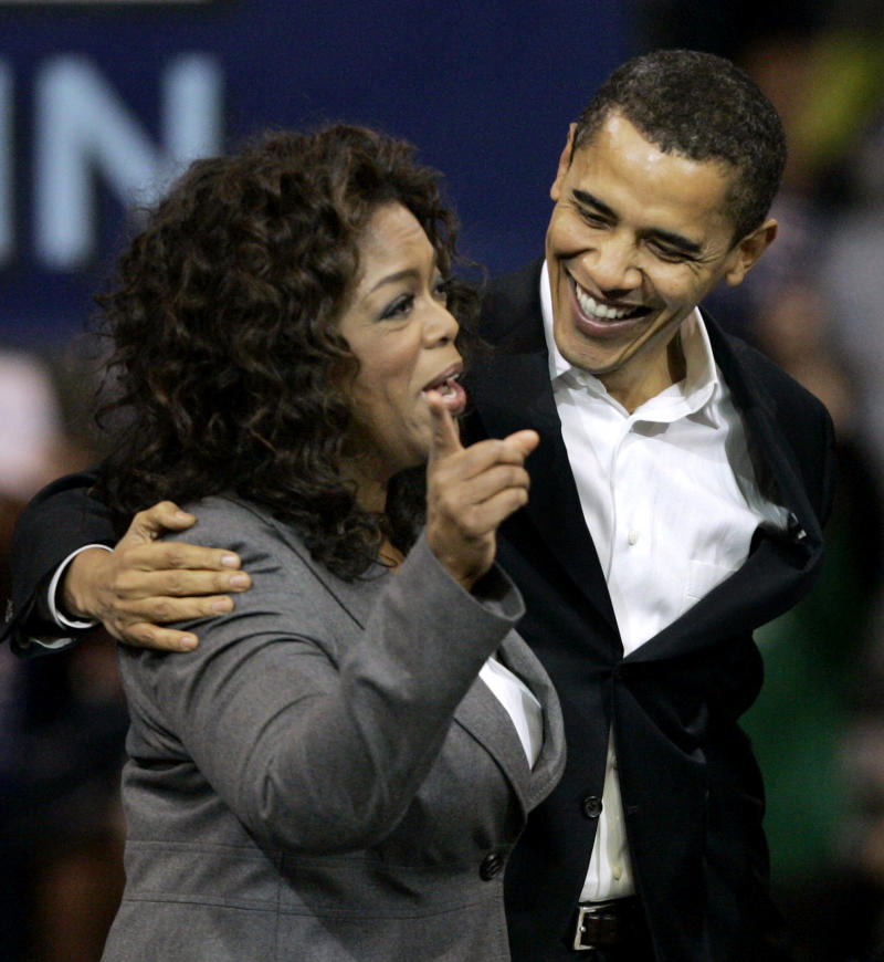 FILE - In this Dec. 9, 2007 file photo, then-Democratic presidential candidate Sen. Barack Obama, D-Ill., reacts as Oprah Winfrey introduces him to the crowd at a rally in Manchester, N.H.  Hollywood, as everyone knows, loves the Next Big Thing. And four years ago, Barack Obama was certainly that: a political supernova, the equivalent of a sudden breakout movie star.  (AP Photo/Elise Amendola, File)