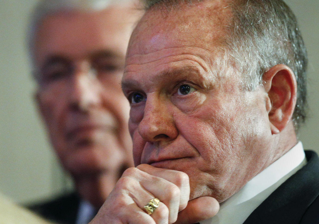 Former Alabama Chief Justice and U.S. Senate candidate Roy Moore waits to speak at a newss conference, Thursday, Nov. 16, 2017, in Birmingham, Ala. (AP Photo/Brynn Anderson)