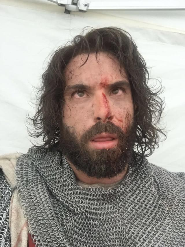 <p>A brief break during our first day filming @knightfallshow. Our costumes weighed a staggering 50lbs and it was a BOILING hot day in Dubrovnik. We had been fighting for 8 hours straight and were utterly exhausted. At this point I had no idea how we were going to get through the 7 months shooting. You can see how bloodshot my eyes are from the endless sweat pouring into them! — @tom_cullen #Knightfall #HISTORY<br>(Photo: Instagram) </p>