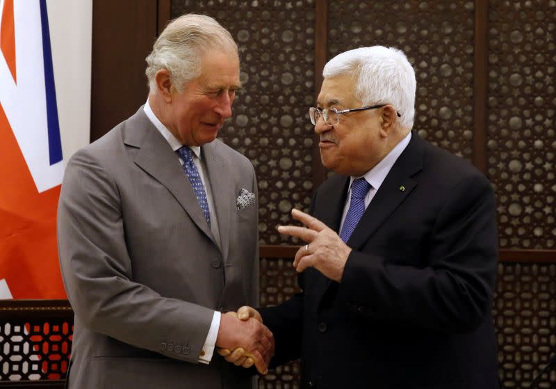 Britain's Prince Charles meets with Palestinian President Mahmoud Abbas during a visit in Bethlehem in the Israeli-occupied West Bank
