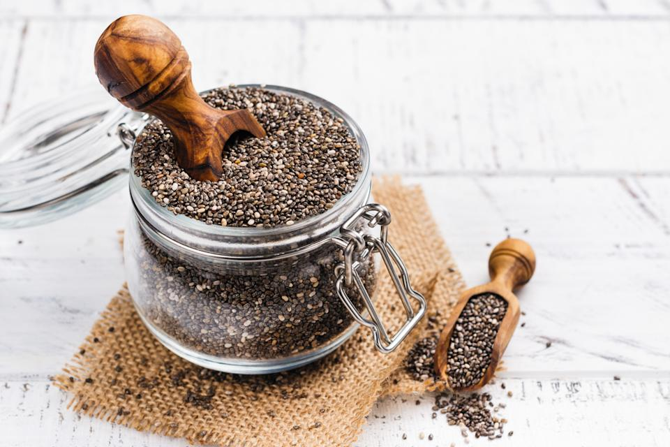 Healthy chia seeds in a glass jar. Healthy eating concept. Copy space