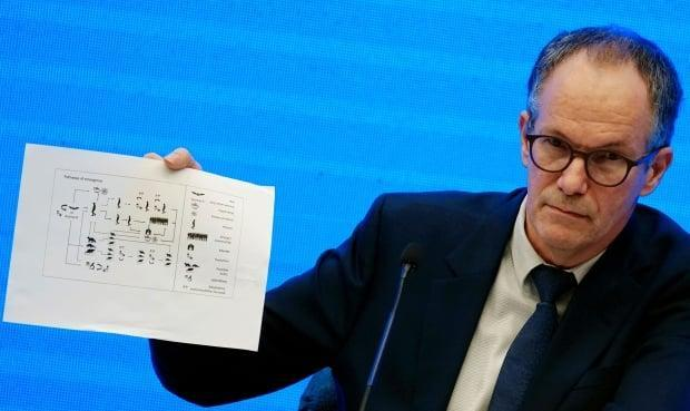 Peter Ben Embarek, a member of the World Health Organization (WHO) team tasked with investigating the origins of the novel coronavirus, holds a chart during the WHO-China joint study news conference at a hotel in Wuhan, China, on Feb. 9. (Aly Song/Reuters - image credit)
