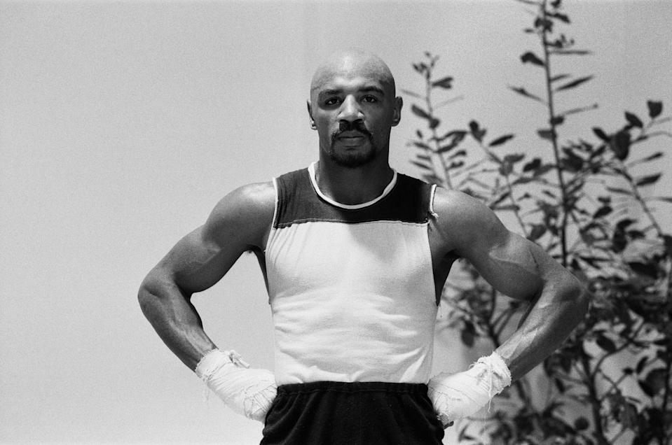 WBC and WBA world champion Marvin Hagler training for his sixth defence of his world titles against Italy's Fulgencio Obelmejias, 28th October 1982. (Photo by Monte Fresco /Daily Mirror/Mirrorpix/Getty Images)