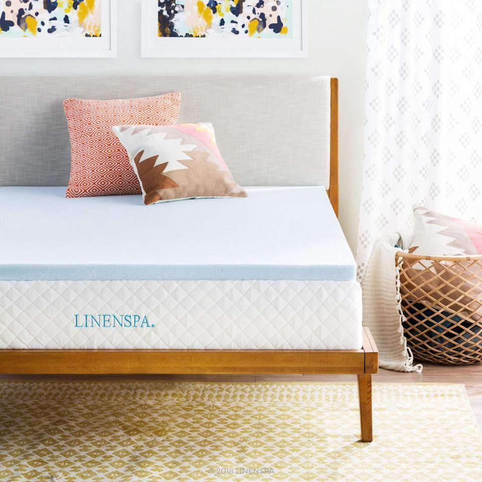 """<h3>Linenspa Gel Infused Memory Foam Mattress Topper</h3><br><strong>Best For: Top-Rated</strong> <strong>Sleep</strong><br>This topper boasts over 50,000 reviews <em>and</em> Choice status on Amazon. Crafted out of ultra-plush memory foam that's infused with temperature-regulating gel beads, the two- to three-inch toppers are designed to provide pressure-relief and spine-alignment support. <br><br><strong>The Hype: 4.5 out of 5 stars</strong><br><br><strong>Sleepers Say:</strong> """"Instant comfort upgrade. We bought an inexpensive memory foam bed for my daughter's guest room to sleep on when we visit. It seemed OK in the store, but we found it <em>waaaay</em> too firm once we slept on it a few times. We didn't want to spend the money on a new mattress we use so infrequently, so we decided to go the mattress topper route instead. This was a great solution. The topper expanded to full size in about 4 hours (they recommend up to 24), and we slept much better than we ever have before on that bed. No aches or pains getting up, and no motion transfer during the night. I didn't notice any smell, even upon first opening the packaging. This was a very affordable solution to an overly firm mattress problem that I would highly recommend to anyone."""" <em>– Cowboy Bob, Amazon Reviewer</em><br><br><em>Shop </em><strong><em><a href=""""https://amzn.to/2V8sj3z"""" rel=""""nofollow noopener"""" target=""""_blank"""" data-ylk=""""slk:Linenspa"""" class=""""link rapid-noclick-resp"""">Linenspa</a></em></strong><br><br><strong>Linenspa</strong> 2-Inch Gel Infused Memory Foam Mattress Topper, Full, $, available at <a href=""""https://amzn.to/3yZYNxd"""" rel=""""nofollow noopener"""" target=""""_blank"""" data-ylk=""""slk:Amazon"""" class=""""link rapid-noclick-resp"""">Amazon</a>"""